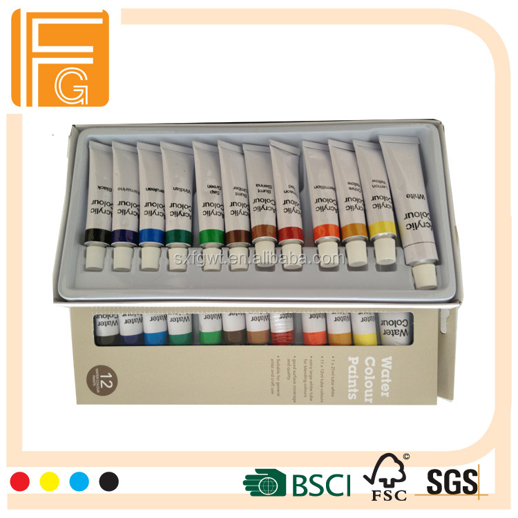 Hot sale artist acrylic paint set 12 color 12ml, professional 12 acrylic paint tube set