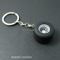 BA0384 wholesale mini car tire keychain funny gift keychain