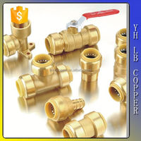 Lead free brass ISO dou le push on socket end fitting with red epoxy coating push fit fitting