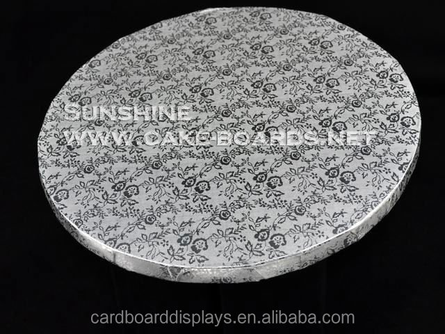 small order corrugated carboard silver round foil cake board for sale