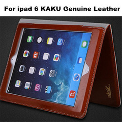 Hot Selling Genuine Leather High Quality Stand Leather Case Cover For iPad air 2 KAKU Real Leather Protective Case For iPad 6