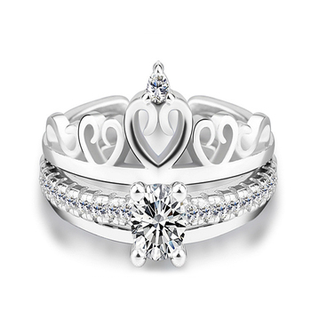 RI00142 Yiwu WT fashion fine-tuning double style, white gold crown heart-shaped ladies ring wholesale