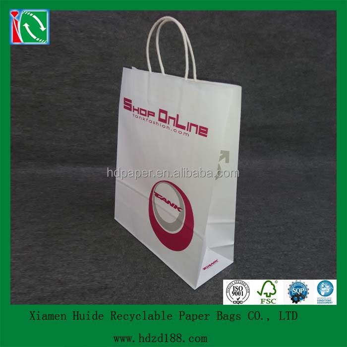 2016 new white kraft bags with handle