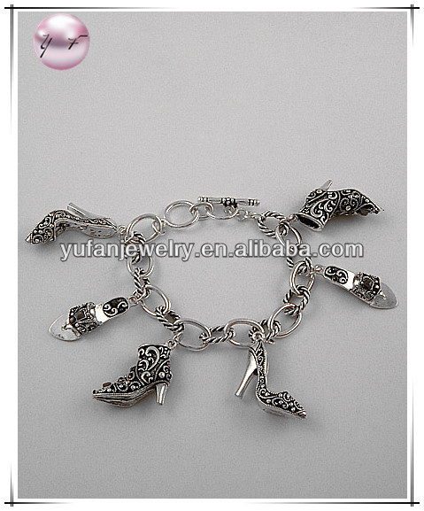 Antique Silver Tone / Lead&nickel Compliant / Marcasite Look Metal / Toggle Closure / Ladies Shoe Charm Bracelet