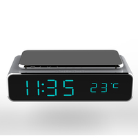 CE FCC ROHS Certificate cheaper metal Pad charger clock speaker Time Temperature Display wireless charger with alarm clock
