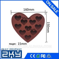 Valentine's Day 10 Cavities Heart Shaped Silicone Ice Cub Tray Silicone Chocolate Mold