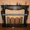 Corner Decor Black Marble Fireplace