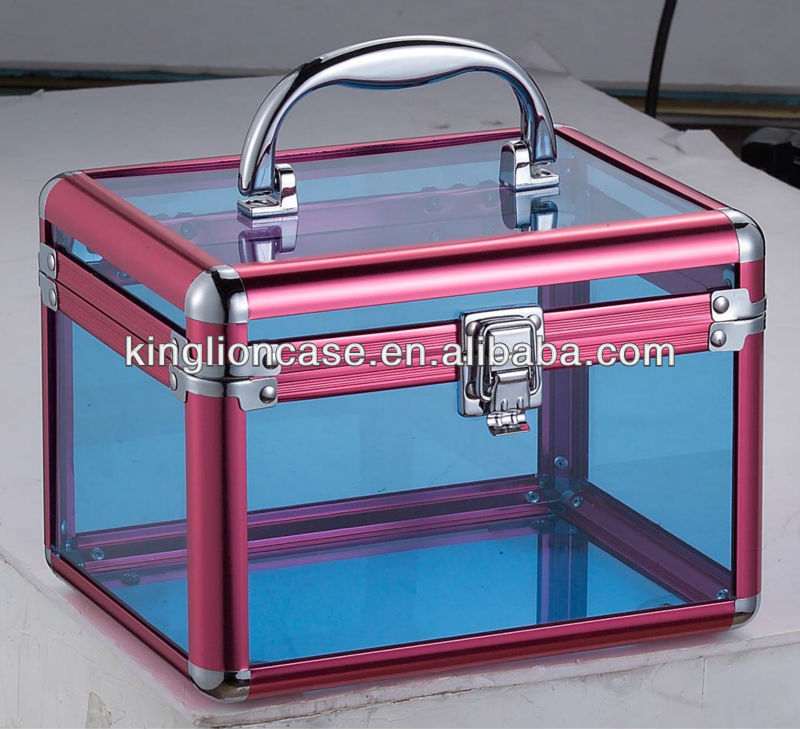 aluminum acrylic cosmetic case ,crystal makeup case, transparent beauty train case