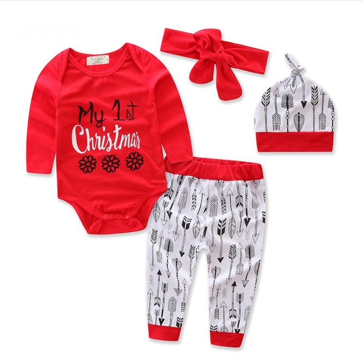 2017 new autumn boutique outfits christmas 4pcs sets red romper pants hat headband baby girls romper sets