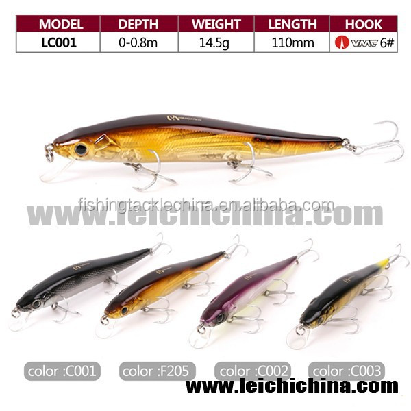 In stock VMC treble hook 110mm 14.5g minnow hard fishing lure