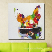 Cute pet dog canvas oil paintings model for kid room wall decoration 100% hand paint handmade oil painting