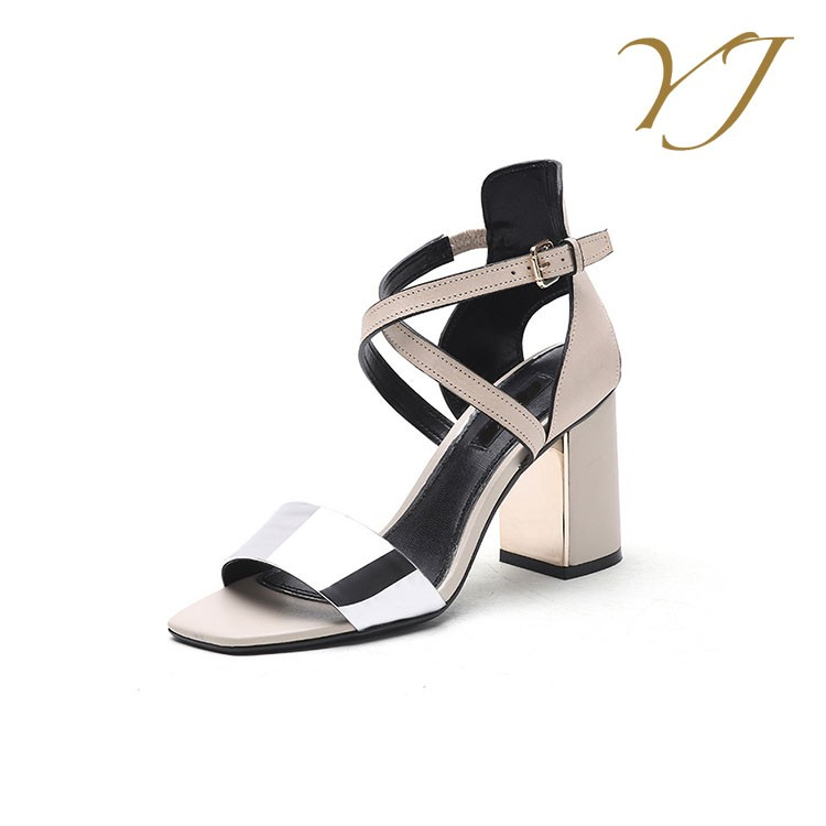 Best selling fashion shoes ladies summer black heeled sandals