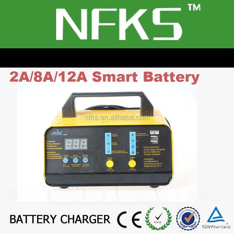 Automatically! 7 stage battery charger 12v car lead-acid LCD