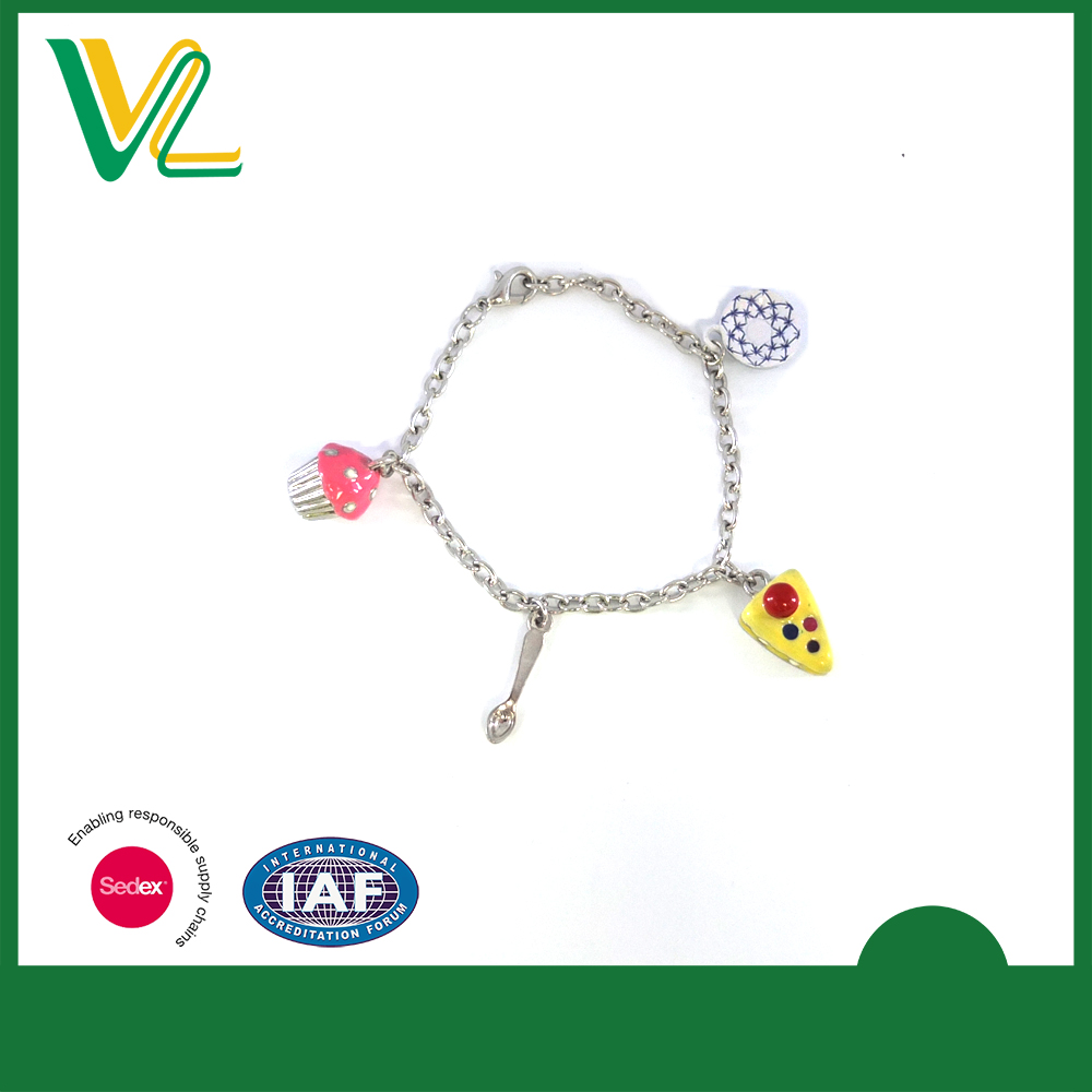 Custom design hot sales Zinc alloy Metal Colorful cake charm Imitation rhodium Lobster clasp Special Bracelet