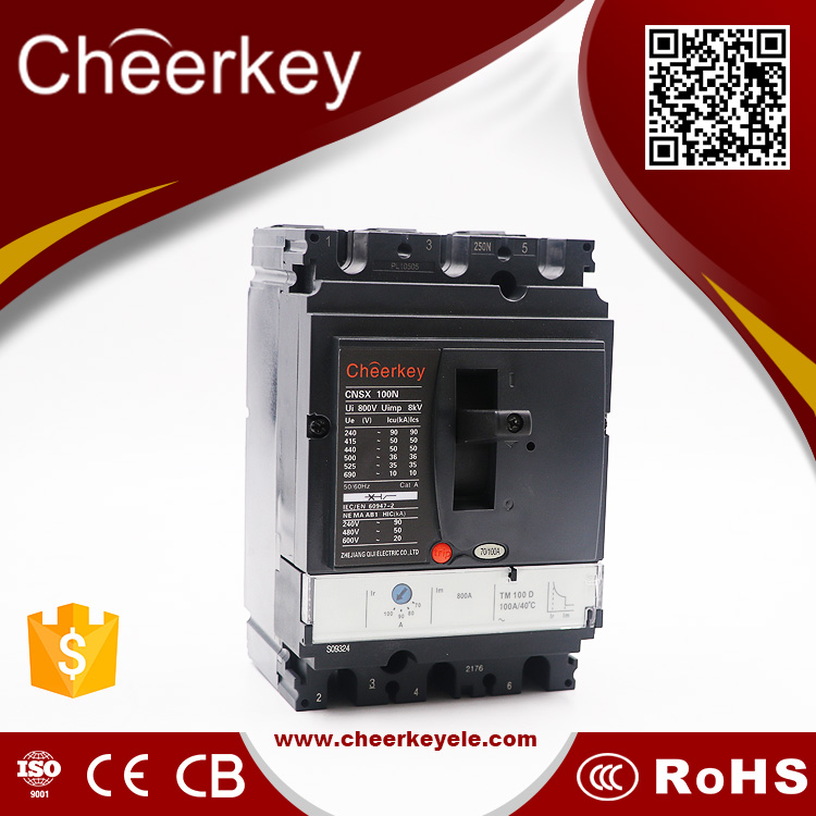 Electrical moulded case circuit breaker CNS, professional quality 100A 3 poles type circuit breaker/