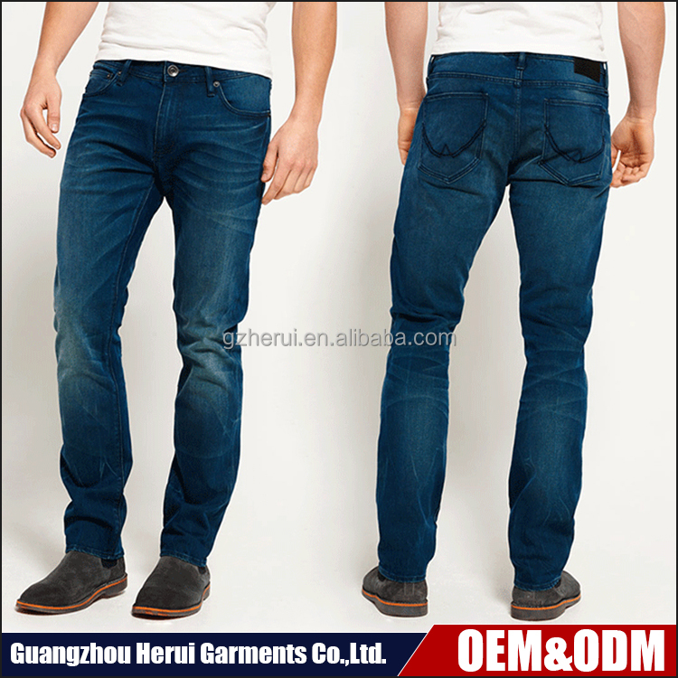 New Model Fashion Man Elastic Washed Denim Jeans Trousers High Quality Custom Stock Slim Fit Biker Jeans
