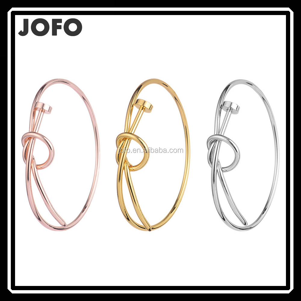 Brass Wire Love Knotted Screw Cuff Bangle Simple Gold Bangle Designs for Women Jofo Jewelry Yiwu