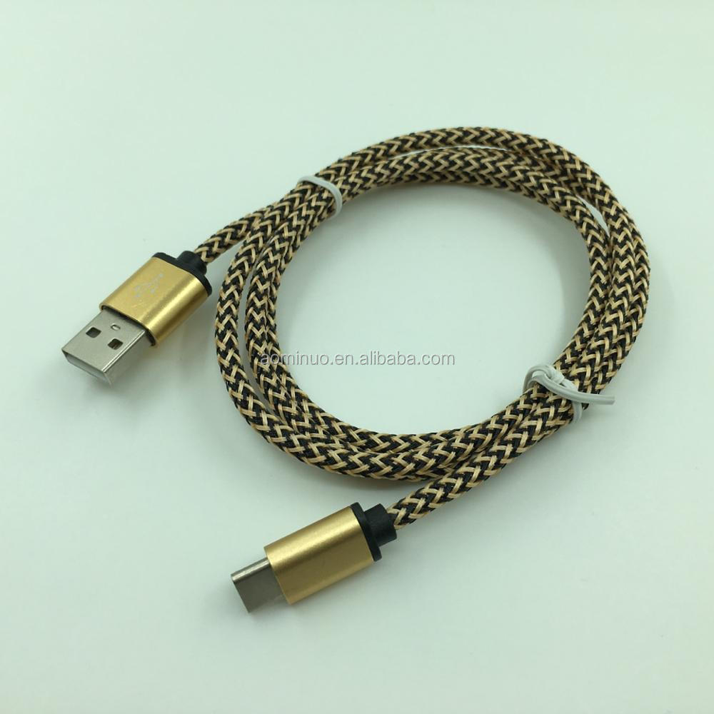 3FT/1m nylon Braided 2.4A fast charging usb type C cable Data Sync Charger Cord For Samsung Galaxy S8 S8+ for Google Pixel