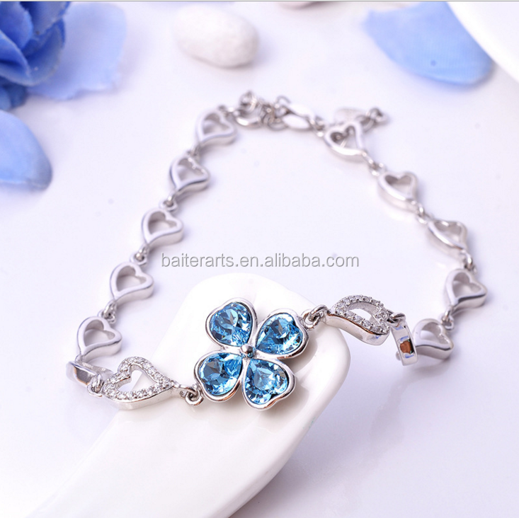 Elegant 925 Sterling Silver Blue Topaz Diamond CZ Zircon Hearts Lucky Four Leaf Clover Charms Bracelet For Women Gift Jewelry