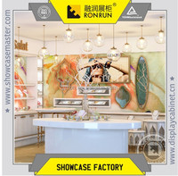China supplier fashion jewelry store display showcase design layout and warm color baking paint furniture