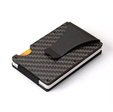 2020 Newest design Carbon Fiber RFID blocking Minimalist Slim Aluminum <strong>Wallets</strong> for Men