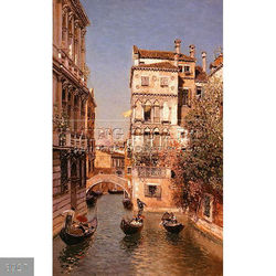 Handmade famous venice italy oil painting landscape art on canvas, Along The Canal by Martin Rico y Ortega