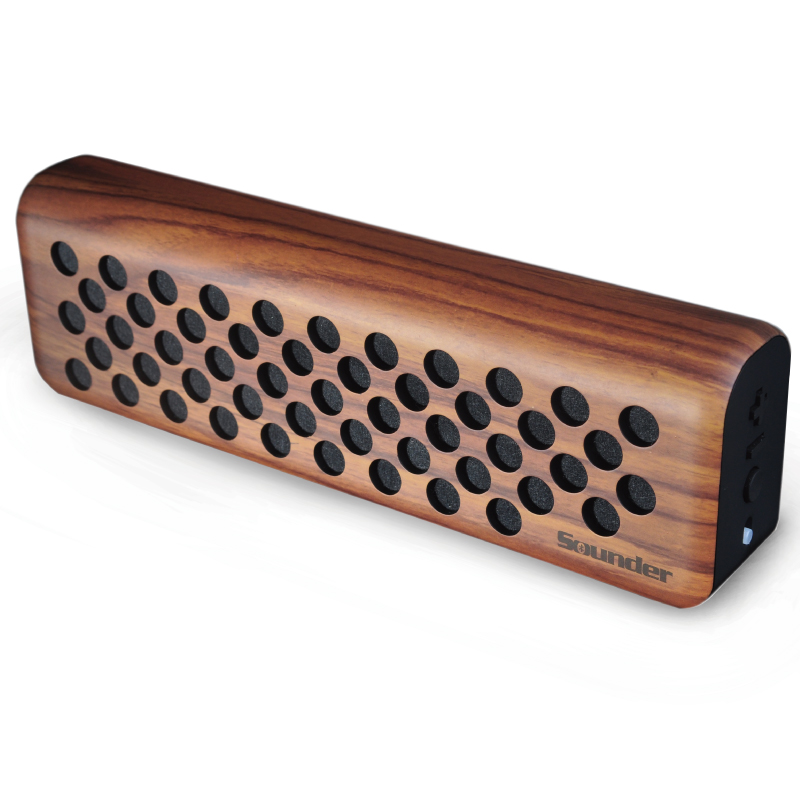 Outdoor Portable Stereo Speaker with HD Audio and Enhanced Bass, Built-In Dual Driver wooden Speakerphone, Bluetooth 4.0,