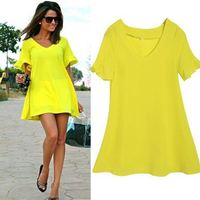 Women European And American Style Casual V Neck Elegant Short Sleeve Mini short yellow dresses dress SV020048
