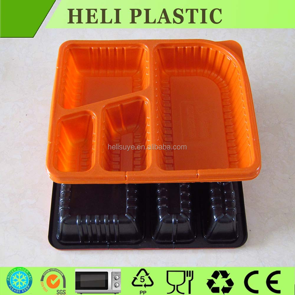 5 compartments disposable microwave safe bento box/container