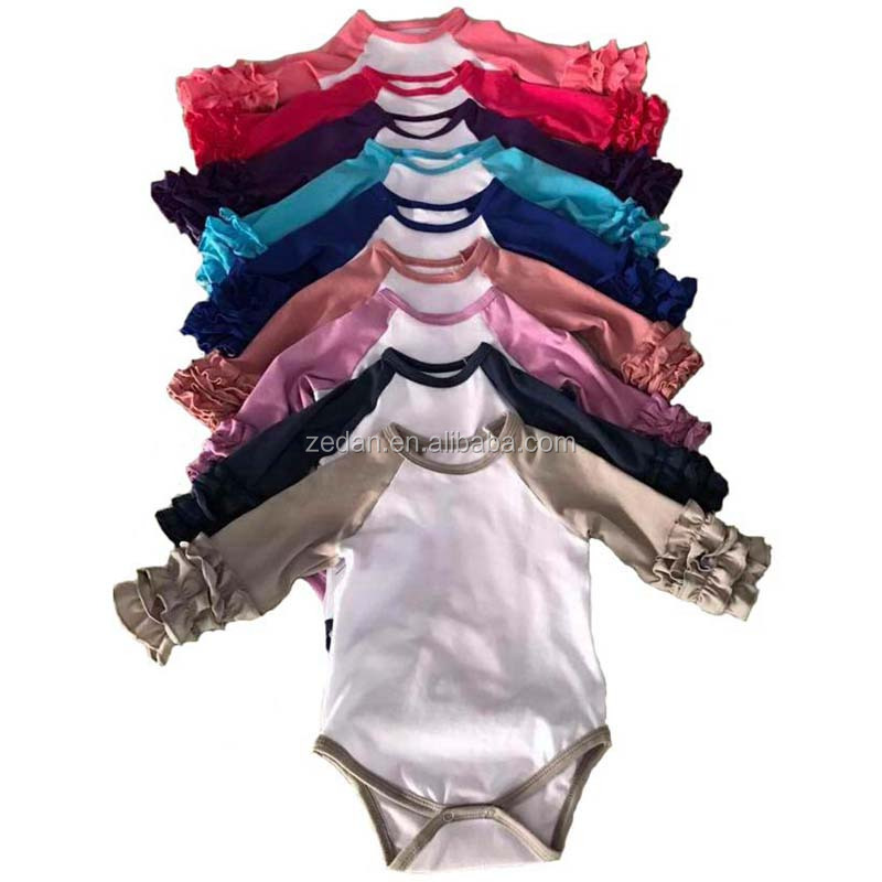 Ruffled baby romper raglans Fall Shirt Ruffle Monogram long sleeve romper Baby Gift DIY Monogram Baby Girl jumpsuit