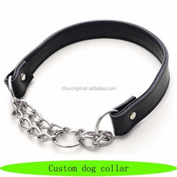Chain collar dog prices, custom dog collar, genuine leather dog collar leash