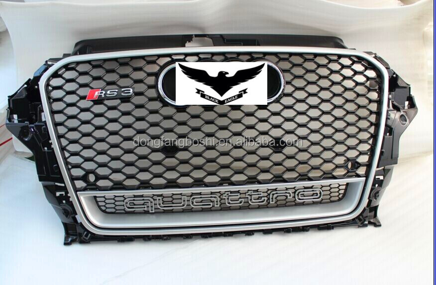 For Audi 2013 A3 8V RS3 grill NEW !DOUBLE Mesh + Quattro Logo front grille