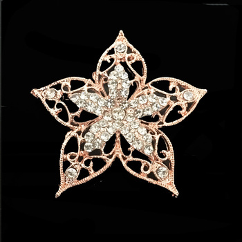 shinny new design star style crystal brooch in rose gold