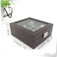 newest arrival pu leather shabby chic showcase storage box for jewelry