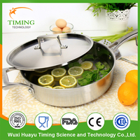 High quality cook ware 18/10 stainless steel flat frying pan, pan frying,skillets with helper handle