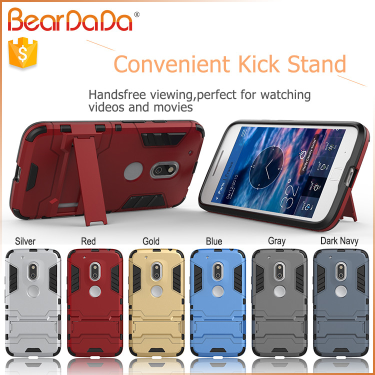 Shockproof kickstand for moto g4plus phone case tpu pc 2 in 1