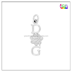 Shine crystal dog letter pendant with paw print charm