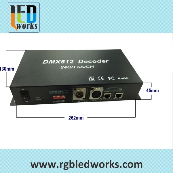 24 Channel DMX512 Decoder 24 channels dmx 512 controller for rgbw led strip