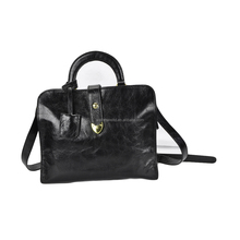 OEM Good Quality Lining Fabric Genuine Leather Black Sandwich Shoulder Handbag for Women