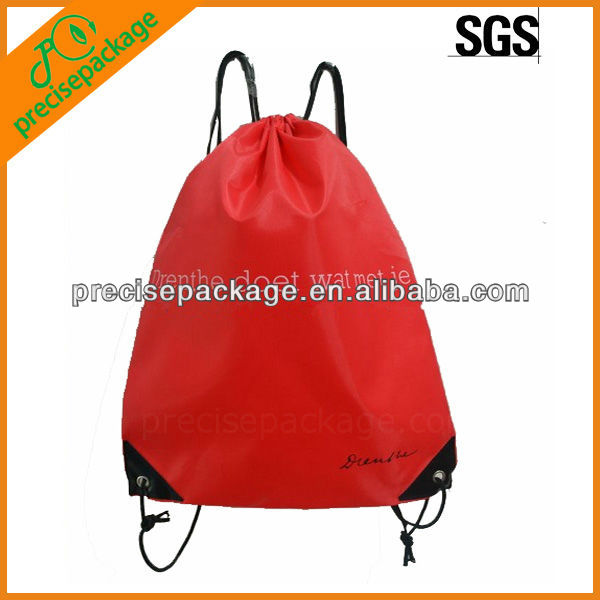 2013 fashion cheap red small nylon drawstring gift or promotion bags (PRD-906)