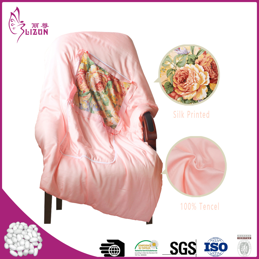 Top quality factory wholesale printed silk cushion blanket