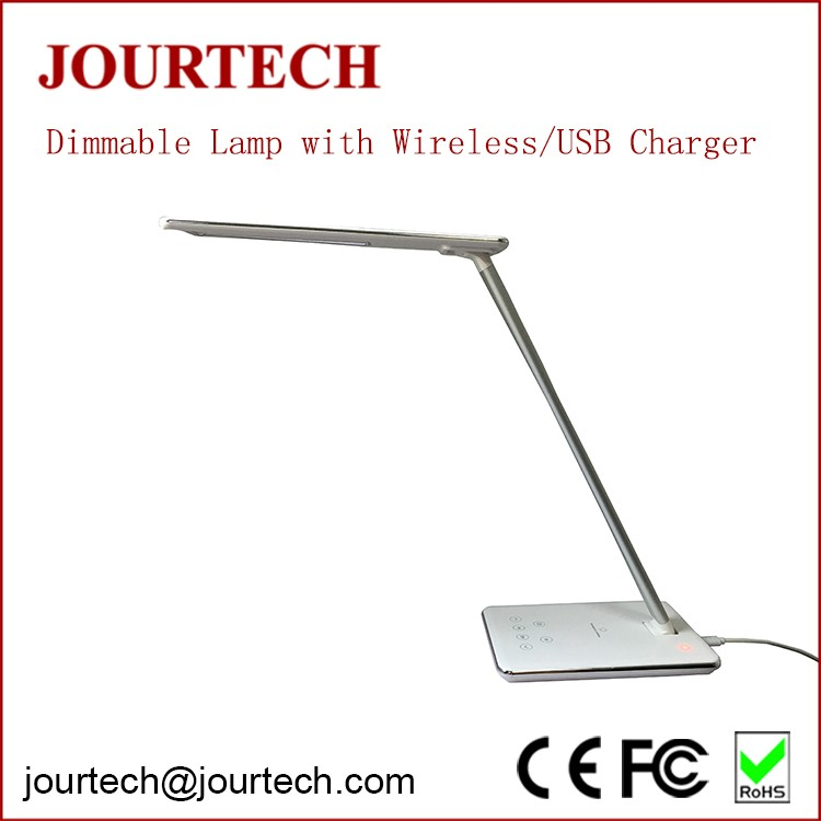 2017 hot selling eyeshield dimmable foldable led desk lamp with cell phone charger and wireless charger