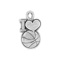Fashion sports jewelry antique silver plated I love basketball charm bracelet charms