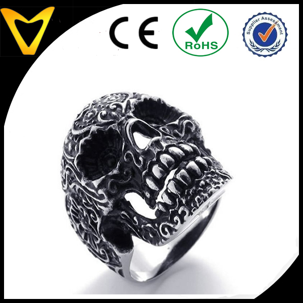 Best Price Stainless Steel Sugar Skull Ring with Flowers, 316L Stainless Steel Jewelry