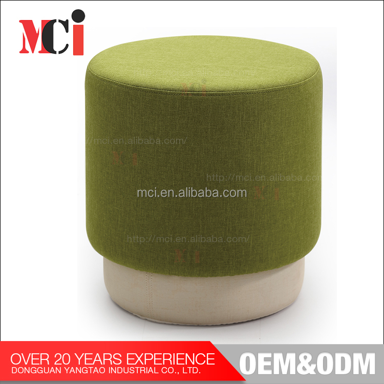 Factory Cheap Fabric Round Low Foot Stool with Solid Wooden Frame