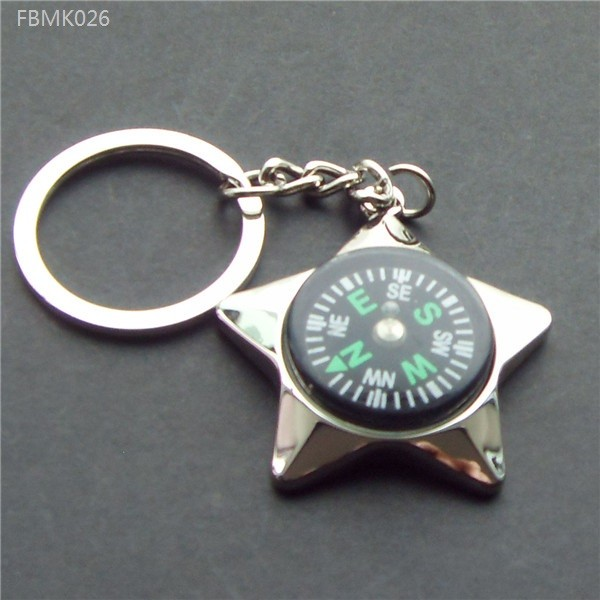 Delicate Five-Pointed Stars Compass Zinc Alloy Keychain