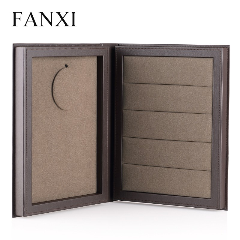 FANXI Stylish Coffee PU Leather Gift Ring Packing Storage Necklace Holder Bust Foldable Book Collection Box Leather Jewelry Case