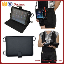 "7"" to 8"" tablet universal case leather flip carring case with shoulder strap"