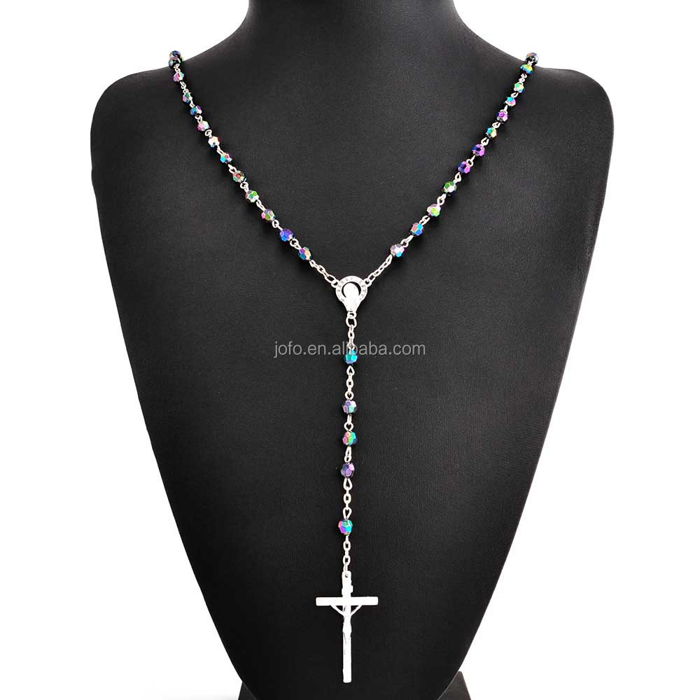 3YK-027 Beaded Bead Neckalce Designs Fashion Latest Design Beads Cross Necklace Jewelry