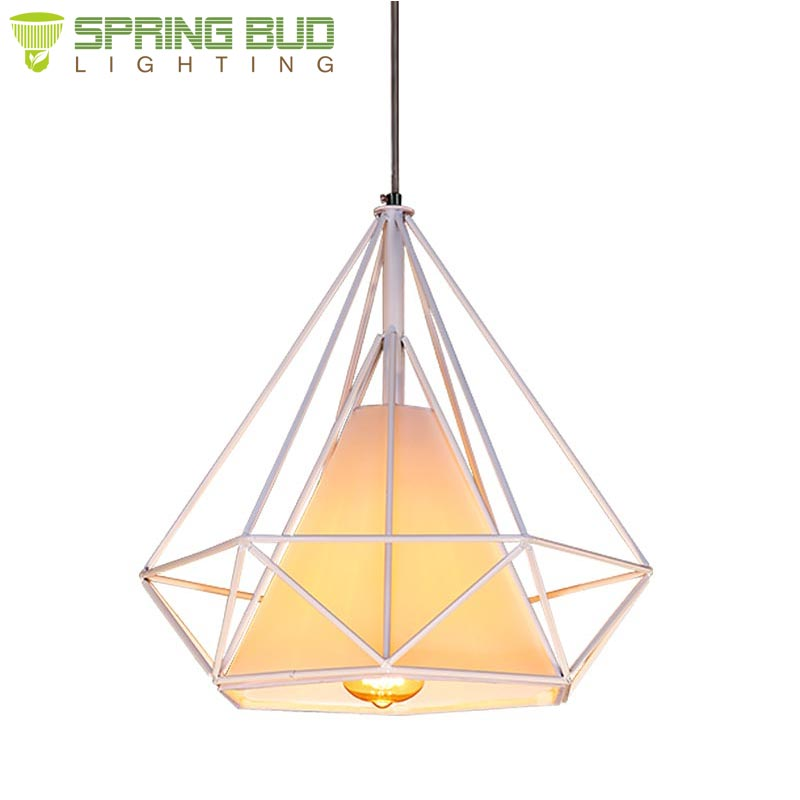 Zhongshan indoor home decor retro vintage diamond cage shape metal iron + fabric pendant lighting fixture